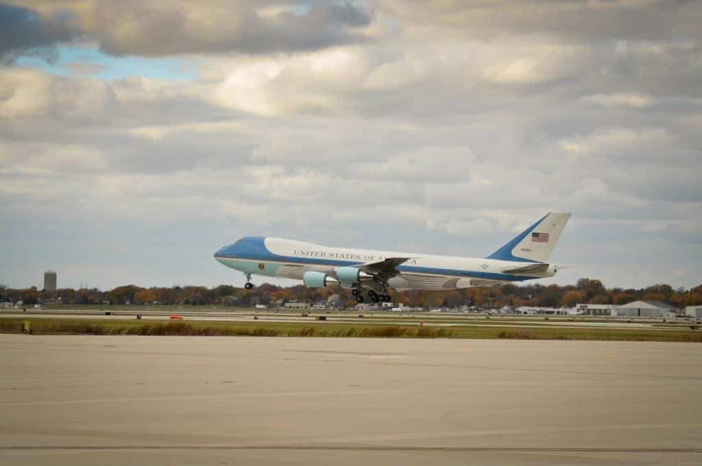 Air Force One lands at General Mitchell International Airport in Milwaukee Oct. 28, 2014. President Barack Obama came to the 128th Air Refueling Wing, Wisconsin Air National Guard, on his way to a public event in Milwaukee. (U.S. Air National Guard photo by Staff Sgt. Jenna V. Lenski/Released)