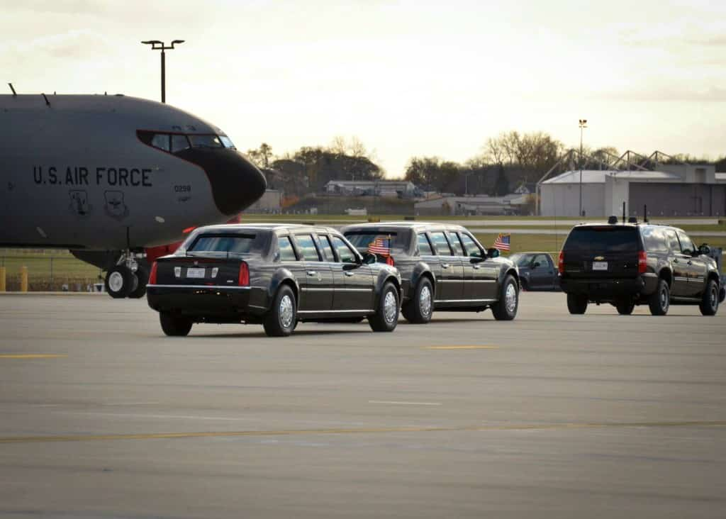 The presidential motorcade departs the flight line at the 128th Air Refueling Wing, Wisconsin Air National Guard, Milwaukee Oct. 28, 2014. President Barack Obama came to the 128 ARW on his way to a public event in Milwaukee. (U.S. Air National Guard photo by Staff Sgt. Jenna V. Lenski/Released)